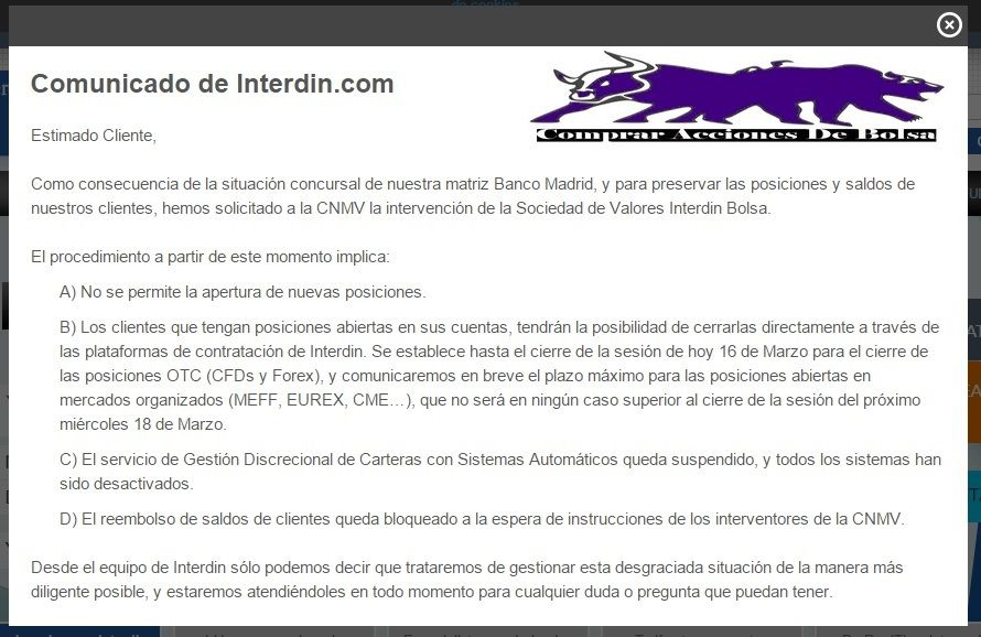Broker interdin, comunicado