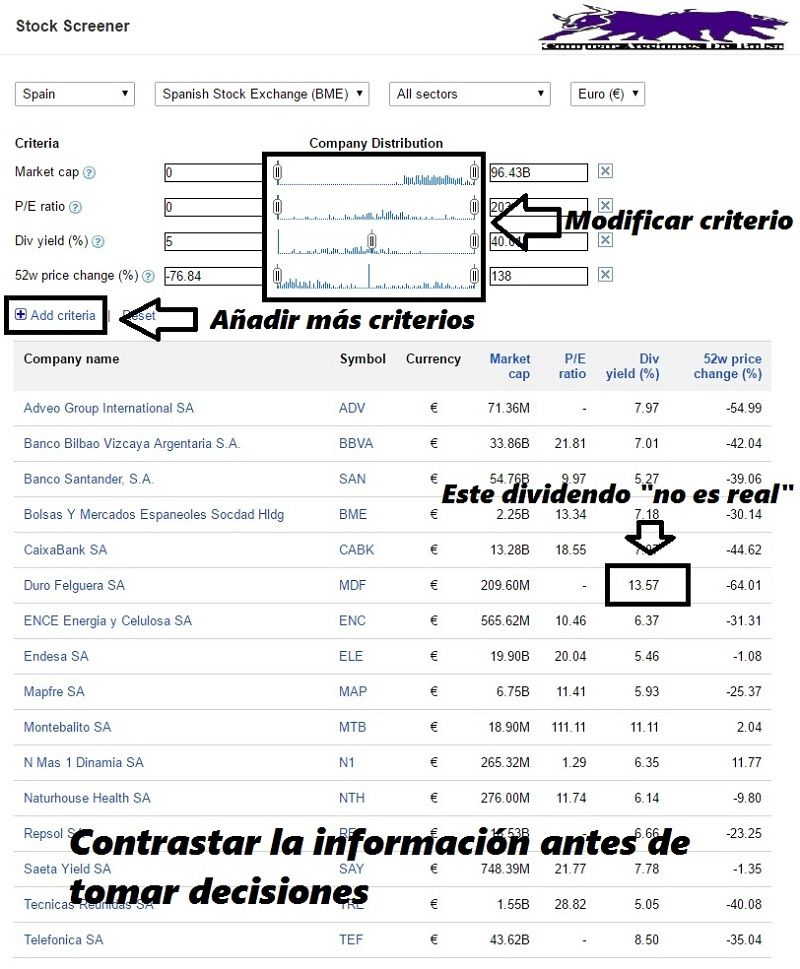Herramienta googlefinance screener, para encontrar valores en los que invertir