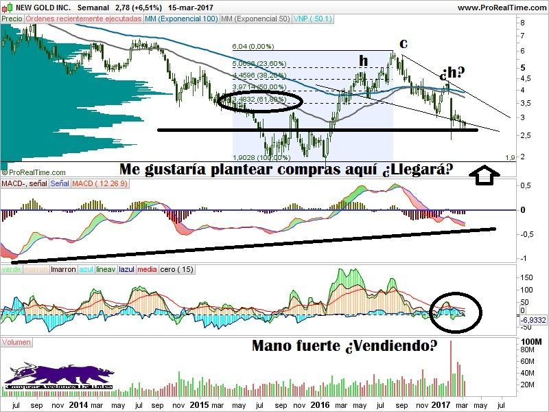 sector minas de oro, new gold inc semanal