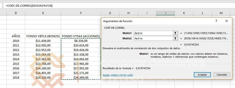 coeficiente de correlación excel matrices